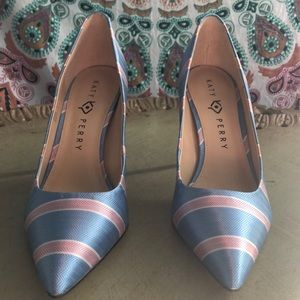 Katy Perry Sissy Blue/Pink Bow Tie Fabric Pump 10